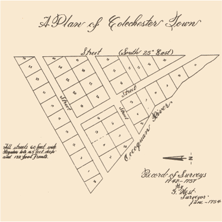 The original town plat of Colchester in 1754