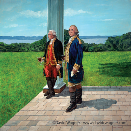 Generals Washington and Rochambeau in a relaxing moment at Mount Vernon